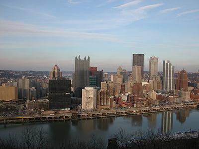 Pittsburgh, ciutat, Pennsilvània, pa, urbà, gratacels, silueta urbana