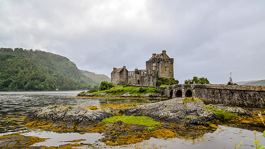 scotland, england, highlands and islands, eilean donan castle, castle, old, clouded sky