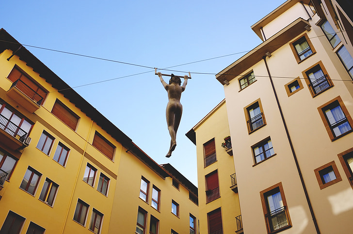 sculpture, aerial gymnasts, sports, art, florence, italy