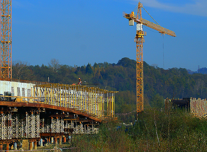 crane, cranes, the design of the, building, construction of a bridge, work, metal