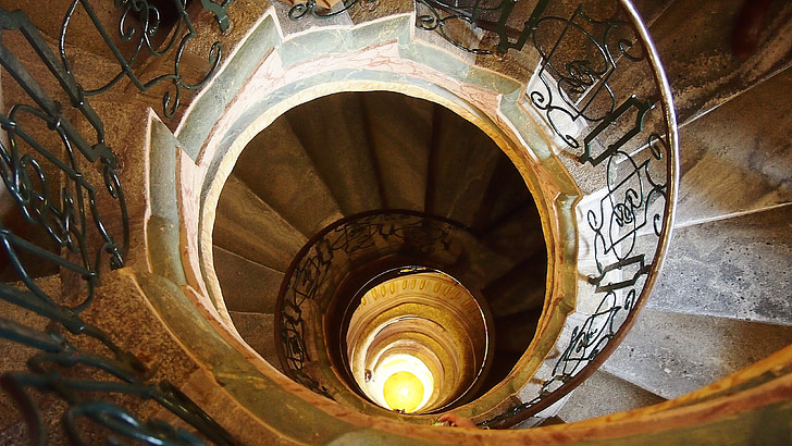 spiraltrapp, Østerrike, arkitektur, perspektiv, trapper, Trinn, ned