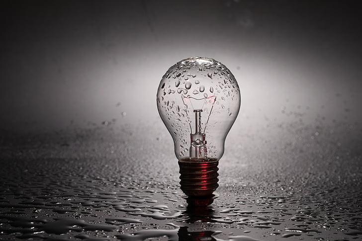 žárovka, světlo, energii, Strand, polostín, zaměření, světla