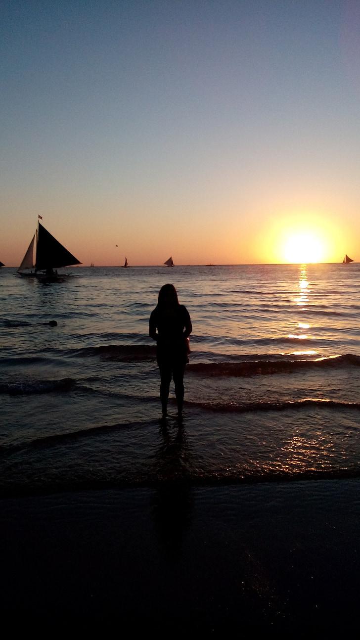Boracay, platja de sorra blanca, posta de sol, Filipines, natura, Mar, tropical