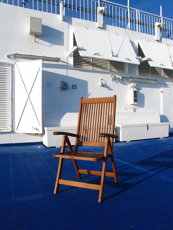 Ferry, Norröna, Sun-deck, chaise, Smyril line, Atlantique Nord, Islande
