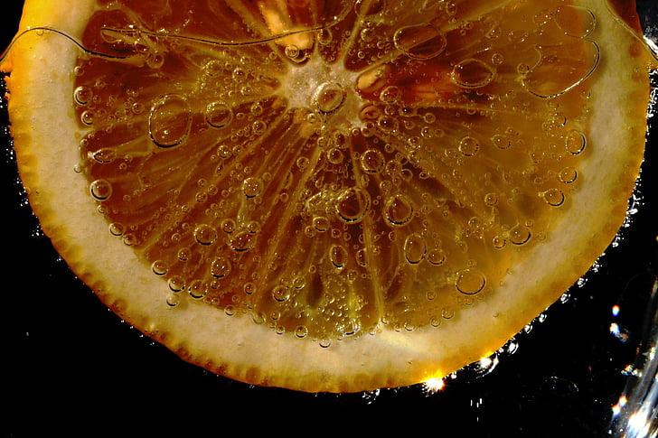 llimona, fresc, fruita, groc, refrescant, aliments, bombolla
