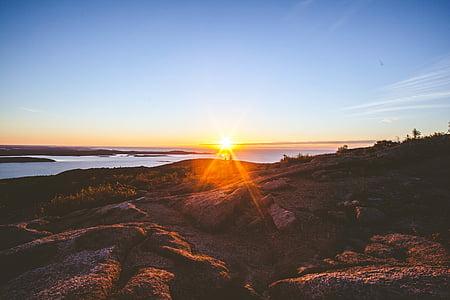 Dawn, skymning, landskap, Mountain, naturen, Ocean, Utomhus
