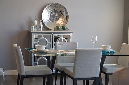 menjador, taula, cadires, decoració, mobles, interior, mobles