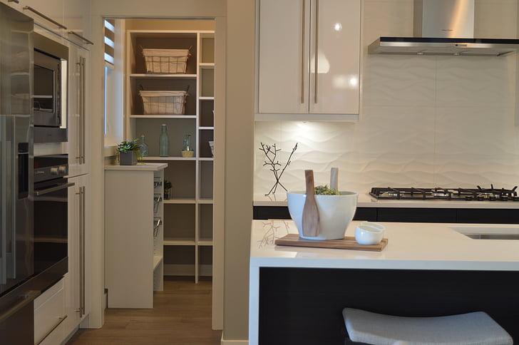 Küche, Speisekammer, Haus, nach Hause, Zimmer, moderne, Ofen