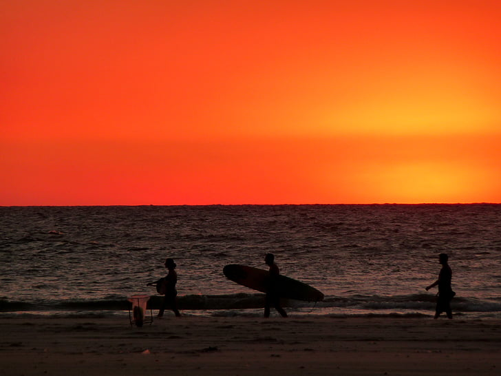 silhueta, três, pessoa, caminhando, beira-mar, carregando, surf