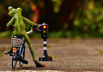жаба, фигура, Байк, правилата на пътя, светофари, червен, Смешно