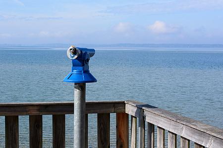 viewpoint, telescope, distant, overview, bank, view, binoculars