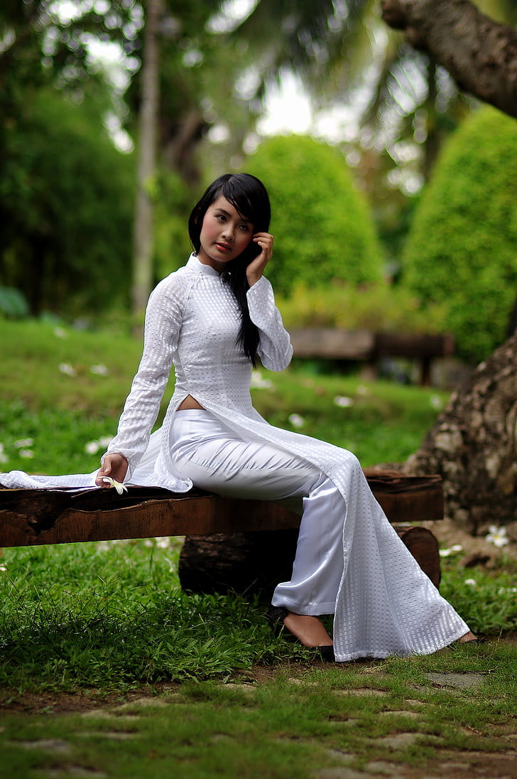 noia, roba de color blanc, força, asiàtic, noia bonica, dona, feliç