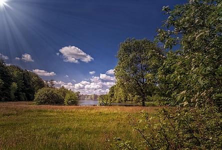 Príroda, Príroda, jazero, slnko, oblaky, Slnečné svetlo, Sunbeam