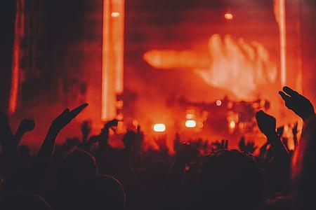 people, hands, concert, party, stage, dark, night