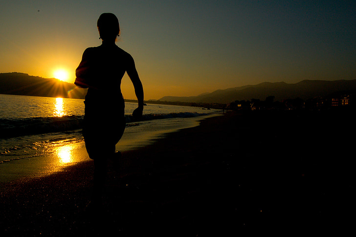 platja, posta de sol, platja, Turquia, blau, bonica, fons