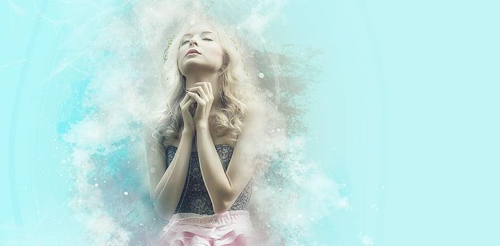 lūgšanas, ticības, lauma, ceru, ka, vēlme, sapnis, blondīne