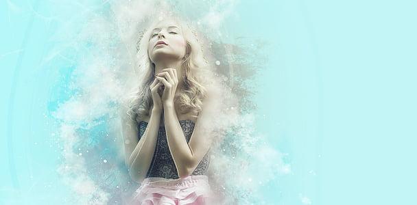 beten, Glauben, Fee, Hoffnung, Wunsch, Traum, Blondine