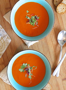 sopa, tomate, saudável, caseiro, vegetariano, almoço, fresco
