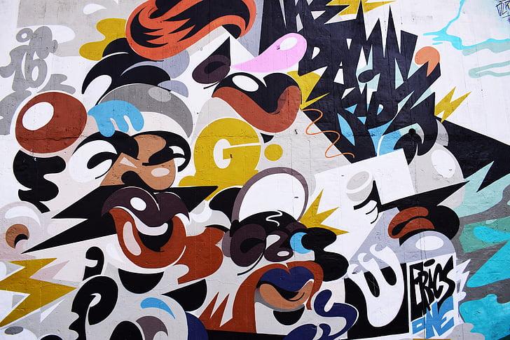 Art, graffiti, pintura, color, traços, art urbà, etiqueta
