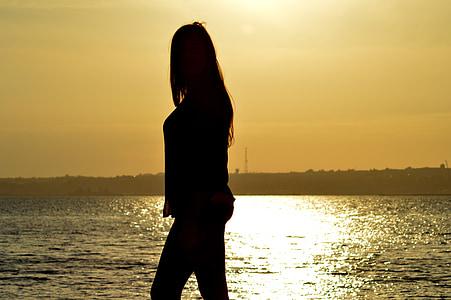силует, жінка, Дівчина, океан, НД, море, води