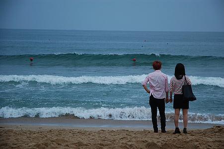 Playa, arena, mar, Busan, Playa de arena, hermosas playas, pareja