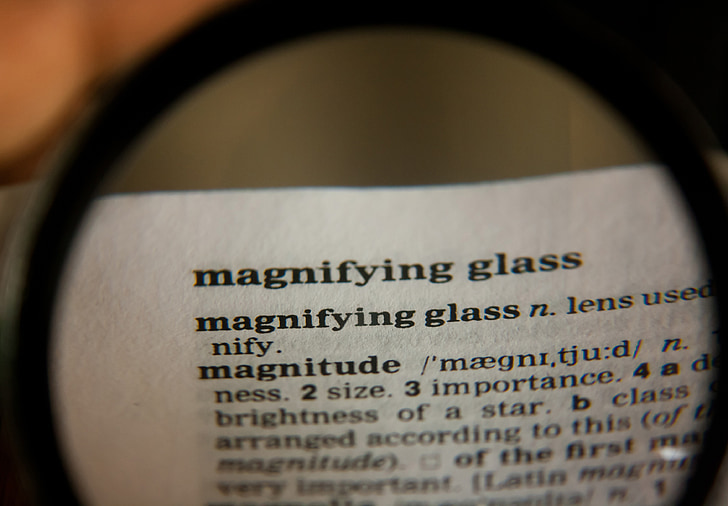 magnifying glass, word, definition, dictionary, text, page, book
