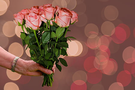 flowers, bouquet, roses, thank you, thank you very much, birthday, greeting card