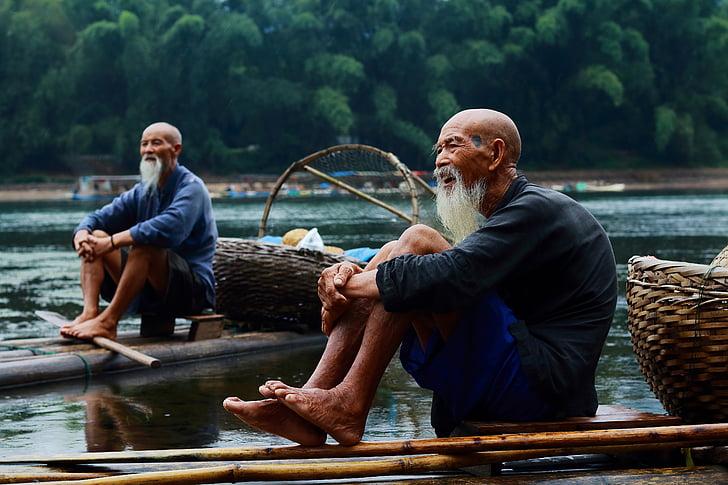 pescador, natura, Guilin, riu, Xina, Guangxi, viatges