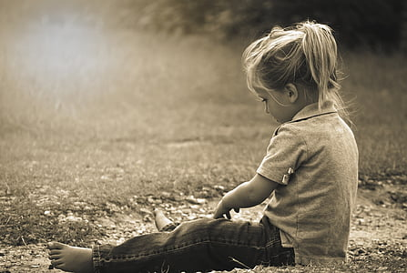 grayscale, photo, girl, sitting, grass, happy, summer