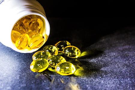 cura, drogues, comprimits, oli de fetge de bacallà, àcids grassos omega-3, omega 6, vitamines