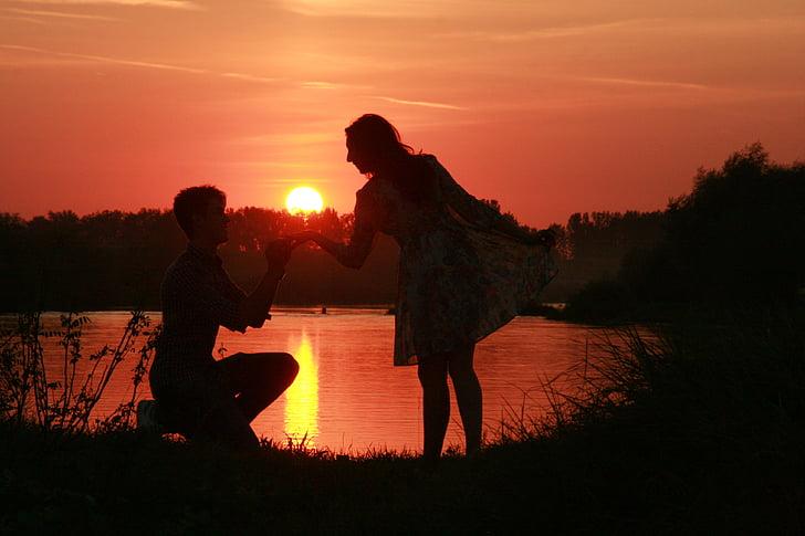 couple, love, sunset, water, sun, shadow, romance