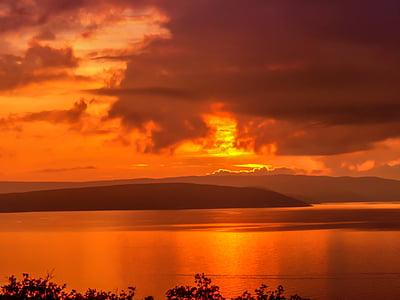 サンセット, クロアチア, アドリア海, 海, における, 残りの部分, 雲
