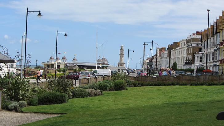 seaside, english, grass, promenade, sea, english seaside, english seaside resort