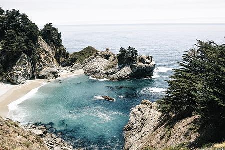 plage, Côte, île, nature, océan, à l'extérieur, roches