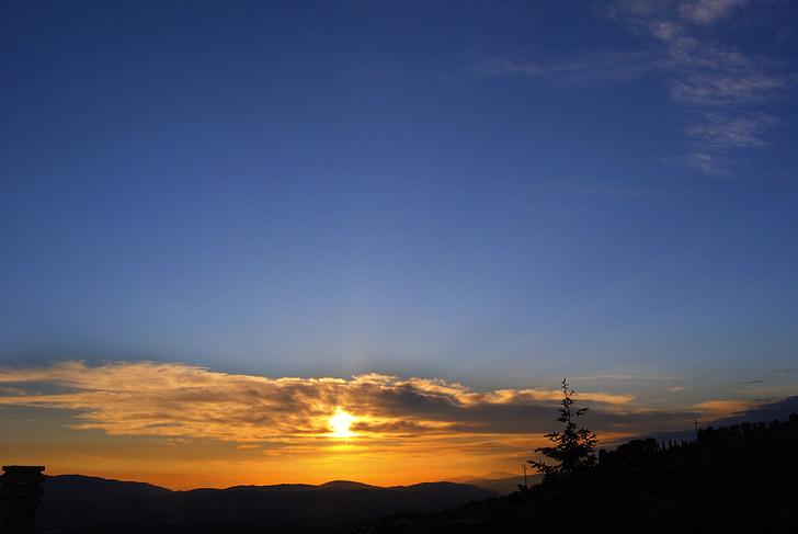 solnedgång, Sky, Bue, Orange, soluppgång, Dawn, skymning