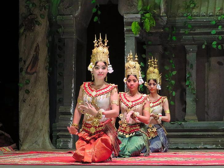 Камбоджа, танцьори, танц, пътуване, Покажи