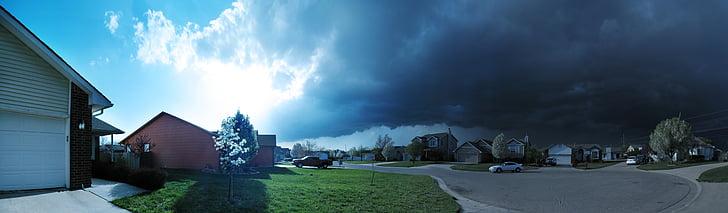 weather, storm, panorama, sky, thunderstorm, rain, cloud