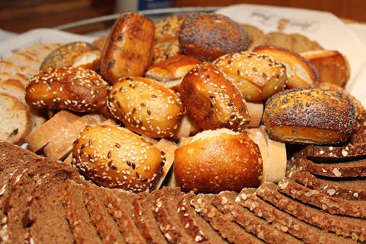 rulli, leib korv, rukki, leib, pruun leib, ketas, toidu