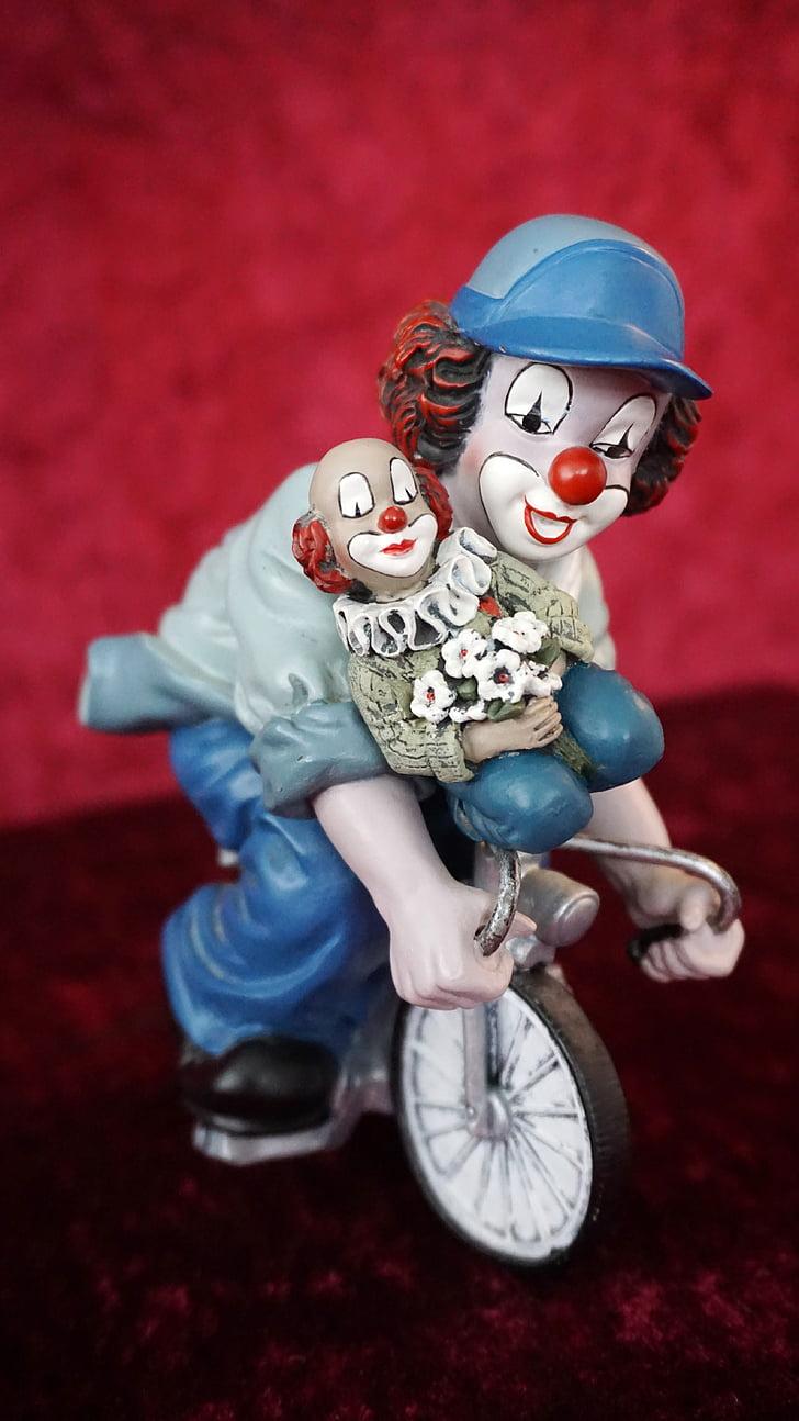 clown, figures, bike, game characters, friend, friendship