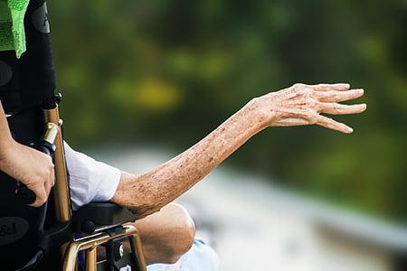 hospice, wrinkled hand, elderly, old, senior, patient, disabled