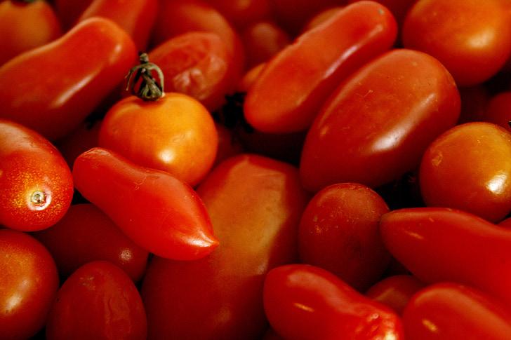 tomate, rouge, orange, légume, organique, nature, salade