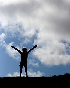 girl, dom, sky, happy, human, pray, outdoors