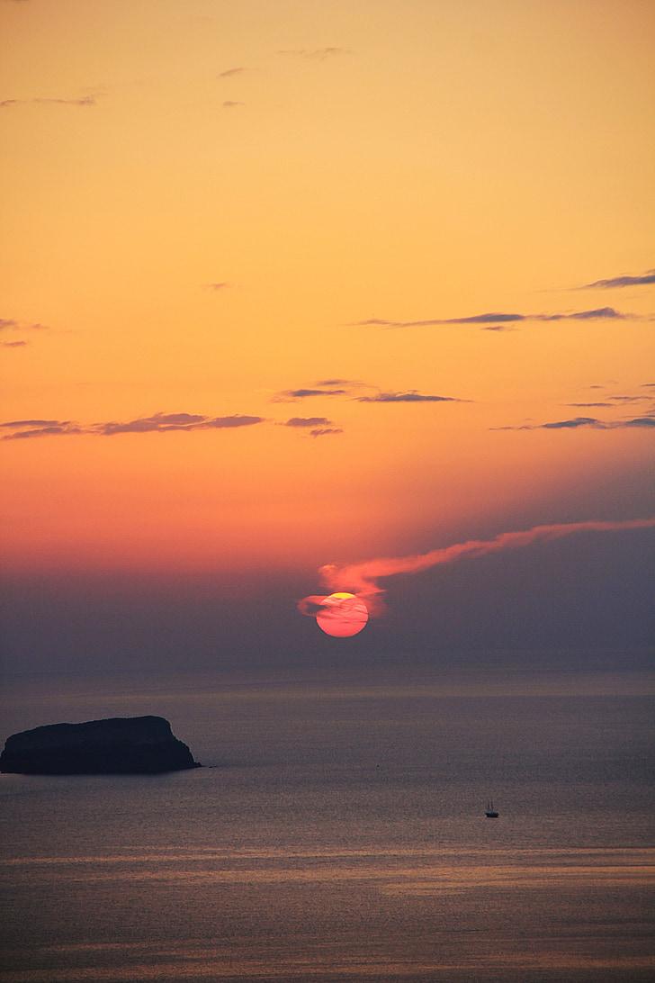 일몰, 산 토 리 니, 바다, 로맨틱, abendstimmung, 그리스, 아일랜드