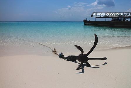 якір, завантаження, корабель, пляж, пісок, піщаним пляжем, море