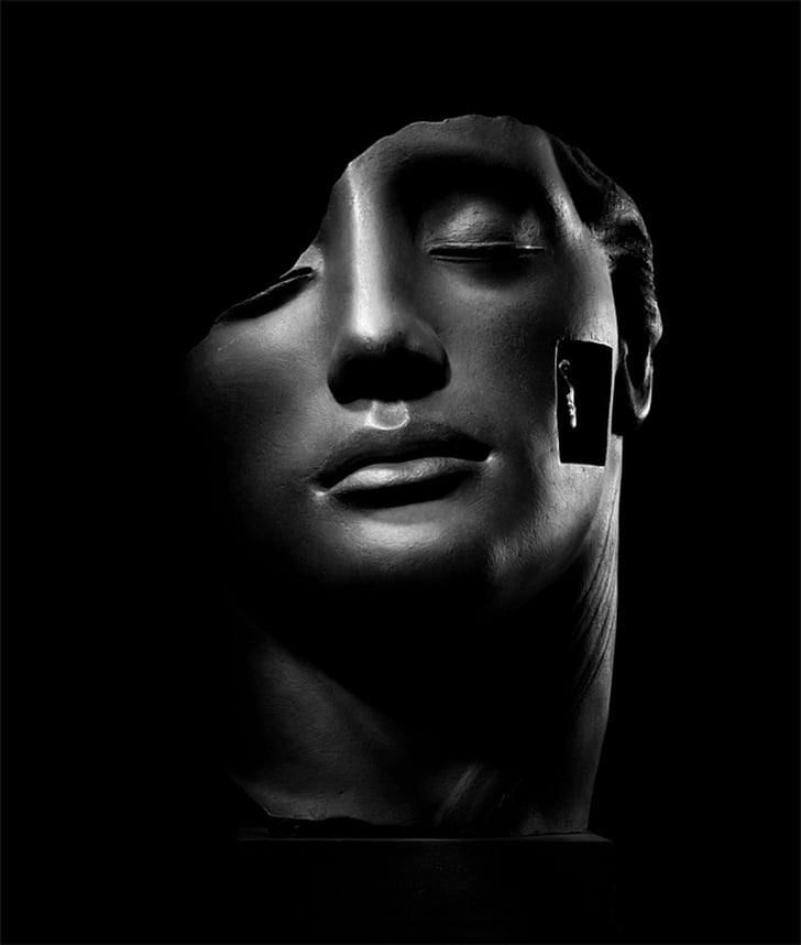 contemporary art, images, beauty, statue, face, black And White, people