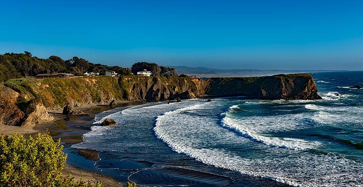 Beach, kalju, rannikul, Ocean, Scenic, Sea, Meremaal