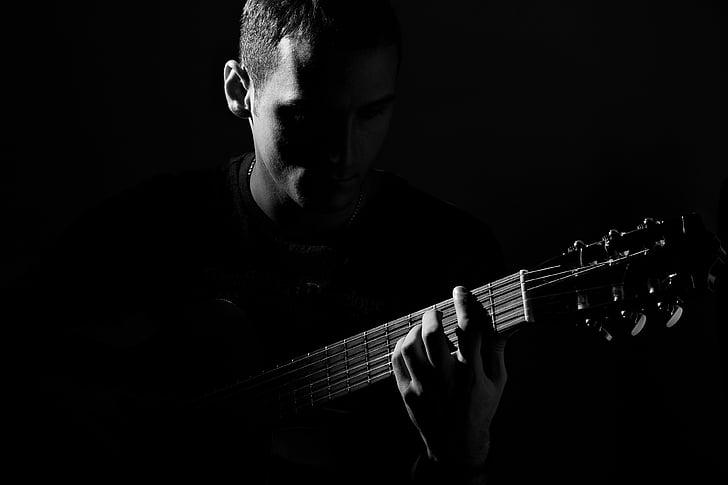 guitar, mọi người, người đàn ông, màu đen và trắng, âm nhạc, chơi, âm nhạc