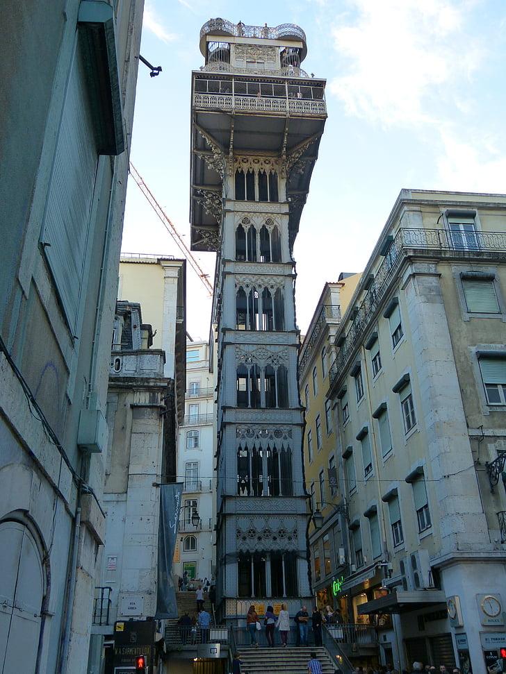 Elevador de santa justa, Elevador do carmo, Lift, személyszállító lift, Acél szerkezet, Lisszabon, Lisboa