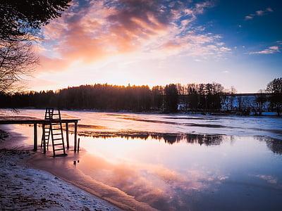 lake, sunset, abendstimmung, romance, nature, landscape, clouds