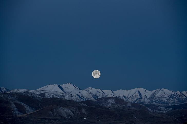 Lluna plena, Lluna, muntanyes, natura, nit, cel, neu